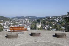 Ansicht über die Stadt von Siegen Stockbilder