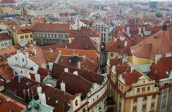 Ansicht über eine europäische alte Stadt Lizenzfreies Stockfoto