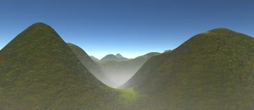 Ansicht über grünes Tal mit Rolling Hills Lizenzfreies Stockfoto