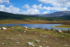 Ansicht über kleinen See in der Nähe von dem Gebirgspass Ulagansk Lizenzfreie Stockfotografie