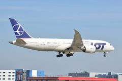 Ansicht Boeings 787-8 Dreamliner Stockfotos