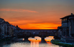 Ansicht Brücke der Gold(Ponte Vecchio) Stockbilder