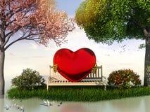 Ansicht 3D Valentin für Liebe und Romantik Stockfotografie