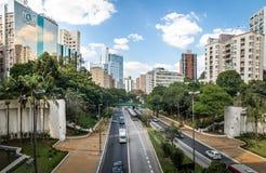 Ansicht 9 de Julho Avenue - Sao Paulo, Brasilien Stockbilder