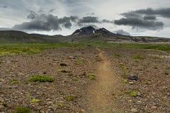 Ansicht an den isländischen Ebenen während der Sommerzeit Stockbild