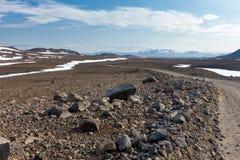 Ansicht an den isländischen Ebenen während der Sommerzeit Stockfotos