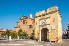 Ansicht an den Toren von Santa Maria und von Garibaldi in Chioggia - Italien stockfoto