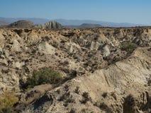 Ansicht der Ödländer in der Tabernas-Wüste Lizenzfreies Stockfoto