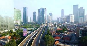 Ansicht der Überführungsstraße in Jakarta-Stadt stock footage