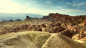 Ansicht der Abtragungslandschaft in Zabriskie-Punkt - Death Valley, Kalifornien Lizenzfreie Stockfotografie