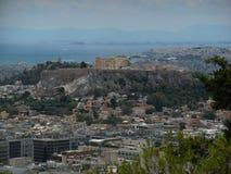 Ansicht der Akropolises und des Piräus von Lycabettus-Hügel lizenzfreie stockfotos