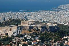 Ansicht der Akropolises vom Lykavittos Hügel, Athen Lizenzfreie Stockfotos