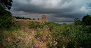 Ansicht der alten Festung an einem bewölkten Tag, Krim Lizenzfreies Stockbild