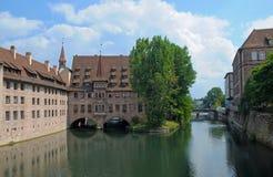 Ansicht der alten Gebäude von Nürnberg Stockbilder