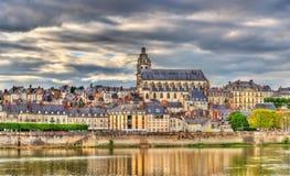 Ansicht der alten Stadt von Blois und Loire - Frankreich Stockfotografie