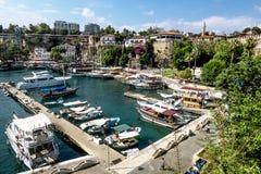 Ansicht der alten Stadt von Kaleici in Antalya Die Türkei stockfotografie