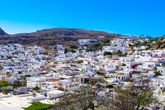 Ansicht der alten Stadt von Lindos stockfotografie