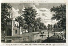Ansicht der Antiken-1780 von Cassina und von Serpentinenfluß in Chiswick-Gärten England Stockfotos