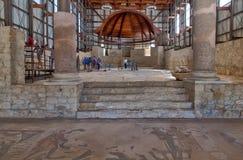 Ansicht der Basilika im durchdachten römischen Haus des Landhaus-Romana del Casale, großes und gekennzeichnet als UNESCO-Welterbe stockfoto