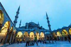 Ansicht der blauen Moschee in Istanbul nachts, die Türkei Lizenzfreies Stockfoto