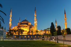 Ansicht der blauen Moschee nachts in Istanbul, die Türkei Stockbild