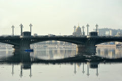 Ansicht der Brücke Neva und Blagoveshchensky Stockfotos