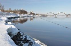 Ansicht der Brücke in Rybinsk. Stockbild