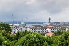 Ansicht der Bucht von Ferrol vom San Francisco-Park Lizenzfreies Stockfoto