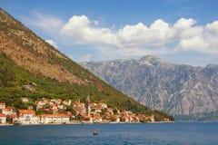 Ansicht der Bucht von Stadt Kotor und Perast montenegro Lizenzfreie Stockfotos