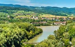 Ansicht der Donaus von Melk-Abtei, Österreich Stockfotografie