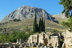 Ansicht der Festung Acrocorinth, Griechenland Stockfoto