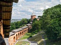 Ansicht der Festungswand Nischni Nowgorod der Kreml-ein Festung in der historischen Mitte von Nischni Nowgorod und von seinem ält stockbilder