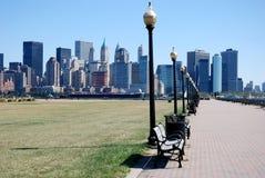 Ansicht der Finanzbezirks-Skyline in New York Stockbild