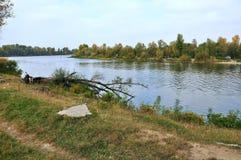 Ansicht der Flussbänke und des Flusses Stockbilder