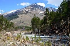 Ansicht der Flussschlucht und des Berges Tsitsa Oshten Lizenzfreies Stockbild