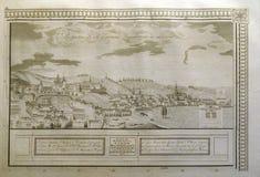 Ansicht der freien königlichen Stadt von Zagreb vom Süden ab 1822 Stockbild