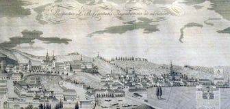 Ansicht der freien königlichen Stadt von Zagreb vom Süden ab 1822 Stockbilder