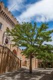 Ansicht der Gasse mit Bäumen und Fassade des Grimaldi ziehen sich in Haut-De-Cagnes zurück stockfoto