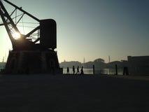Ansicht der Gondeln durch Piazza San Marco Stockfoto
