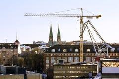 Ansicht der gotischen Kirche Johannes an der Dämmerung Stockbild
