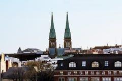 Ansicht der gotischen Kirche Johannes an der Dämmerung Lizenzfreies Stockfoto