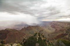 Ansicht an der Grand Canyon -Landschaft mit Gewitter Lizenzfreies Stockbild