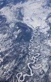 Ansicht der großen Höhe von gefrorenem Fluss. Arktisches Kanada Lizenzfreie Stockfotografie
