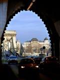 Ansicht der Hängebrücke über der Donau in Budapest Stockbilder