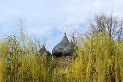 Ansicht der Haube der Kirche von der Fürbitte der Jungfrau Lizenzfreies Stockbild
