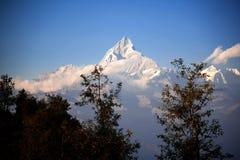 Ansicht der Himalajaberge sehen von Sarangkot Stockbild
