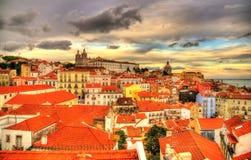 Ansicht der historischen Mitte von Lissabon am Abend lizenzfreies stockfoto