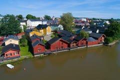 Ansicht der historischen Mitte von Porvoo, Juli-Tag finnland stockfoto