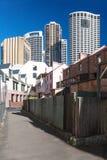 Ansicht der hohen Türme der Hotels in Sydney Stockfotografie