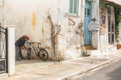 Ansicht der Insel Pylos hat eine lange Geschichte, in klassische Zeiten, der Standort war unbewohnt stockbilder